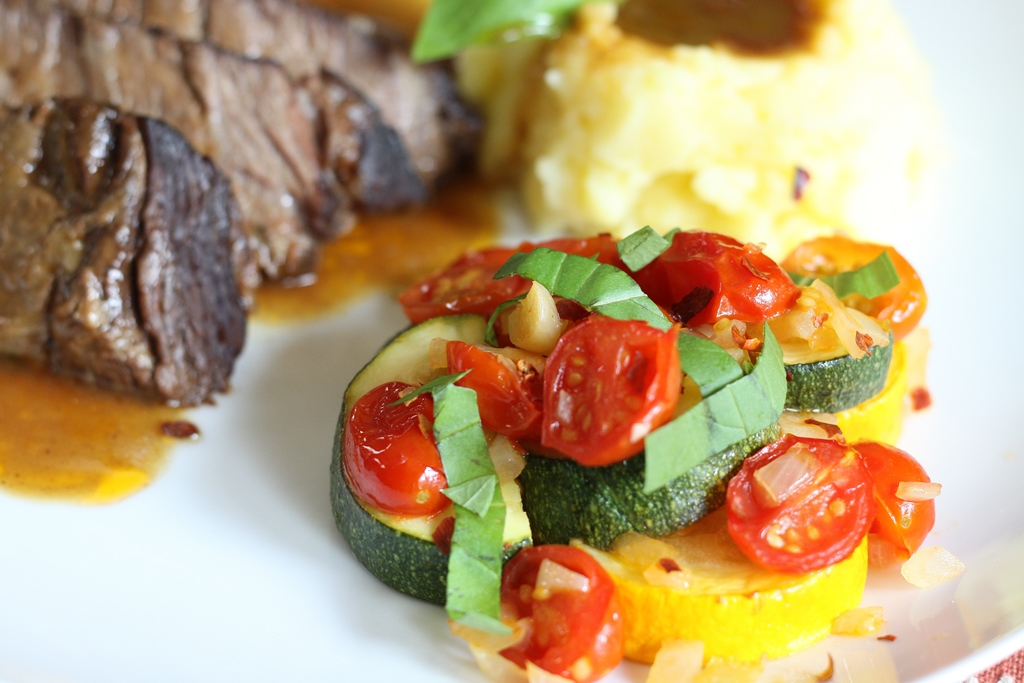 Slow cooker pot roast with mashed potatoes and roasted zucchini and tomatoes 1